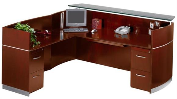 Reception Desks Mayline Office Furniture Double Pedestal L Shaped Napoli Reception Station