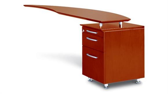 Executive Desks Mayline Office Furniture Curved Desk with Right Return and Pedestal