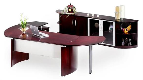"""Executive Desks Mayline Office Furniture 72"""" Napoli Desk with Left Return, Extension and Additional Storage"""