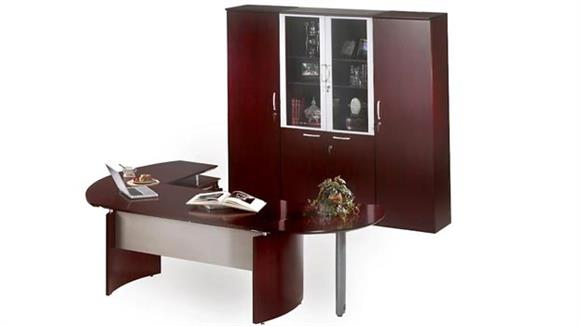 """Executive Desks Mayline Office Furniture 72"""" Napoli Desk with Right Return, Extension and Wardrobe with Storage"""