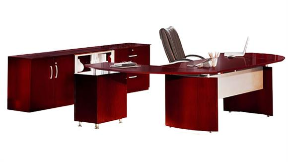 "Executive Desks Mayline Office Furniture 72"" Napoli Desk with Right Return, Pedestal, Extension and Low Wall Cabinet"