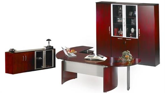 """Executive Desks Mayline Office Furniture 72"""" Napoli Desk with Right Return, Pedestal, Extension and Wardrobe with Storage"""