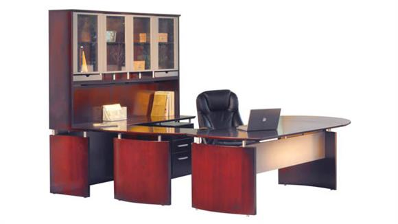 """U Shaped Desks Mayline Office Furniture 96""""W x 108""""D U Shaped Napoli Desk with Right Return, Hutch, Pedestal and Curved Extension"""