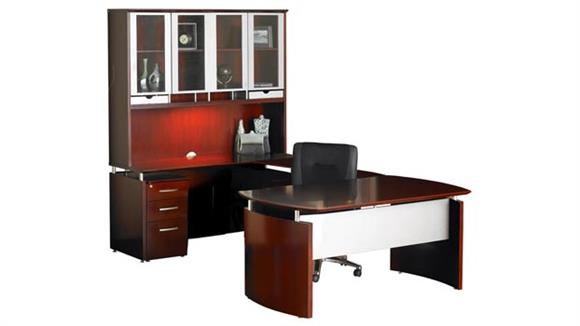 "U Shaped Desks Mayline Office Furniture 63""W x 108""D U Shaped Napoli Desk with Left Return, Hutch and Pedestal"
