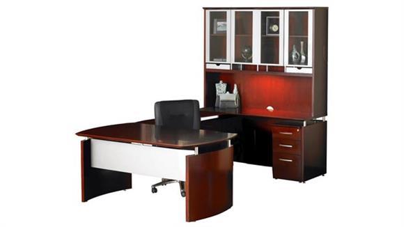 "U Shaped Desks Mayline Office Furniture 63""W x 108""D U Shaped Napoli Desk with Right Return, Hutch and Pedestal"