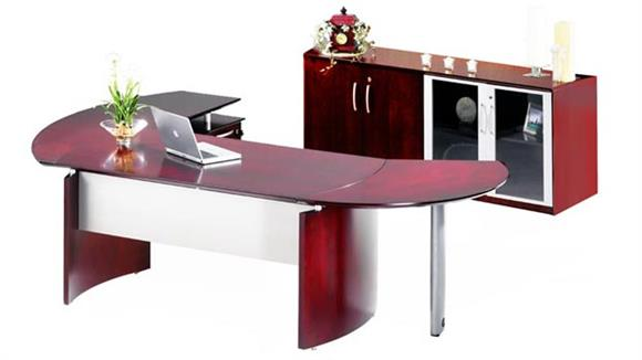 """Executive Desks Mayline Office Furniture 63"""" Napoli Desk with Right Return, Extension and Additional Storage"""
