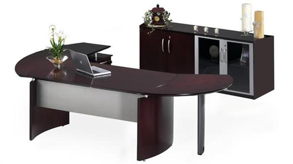 "Executive Desks Mayline Office Furniture 63"" Napoli Desk with Return and Extension and Additional Storage"