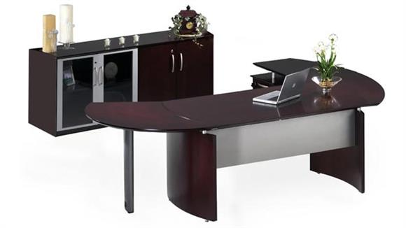 "Executive Desks Mayline Office Furniture 63"" Napoli Desk with Left Return, Extension and Additional Storage"