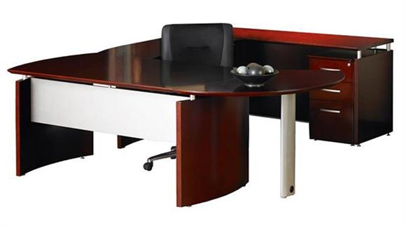 "U Shaped Desks Mayline Office Furniture 87""W x 108""D U Shaped Napoli Desk, 48"" Bridge, Credenza with Pedestal, and Curved Extension"