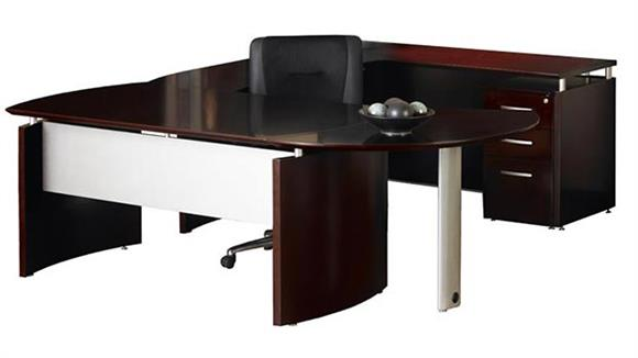 U Shaped Desks Mayline Office Furniture U Shaped Napoli Desk with Curved Extension