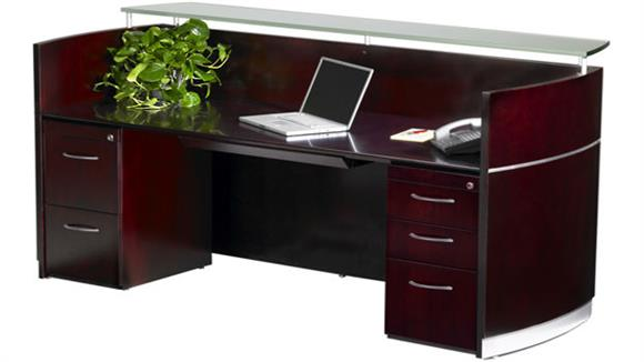 Reception Desks Mayline Office Furniture Napoli Double Pedestal Reception Station