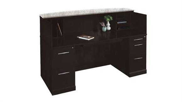 "Reception Desks Mayline Office Furniture 72"" Reception Desk with Granite Counter"