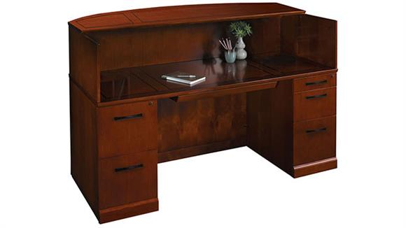 "Reception Desks Mayline Office Furniture 72"" Reception Desk with Veneer Counter"