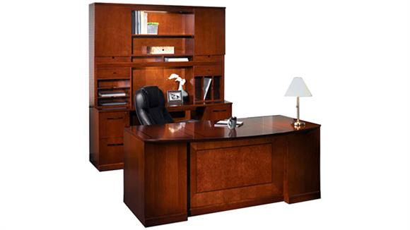 "Executive Desks Mayline Office Furniture 72"" Double Pedestal Bow Front Desk and Credenza with Hutch"
