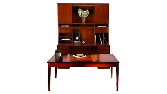 "Writing Desks Mayline Office Furniture 72"" Table Desk with Double Pedestal Credenza and Hutch"