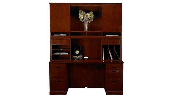 "Office Credenzas Mayline Office Furniture 72"" Double Pedestal Credenza with Hutch"