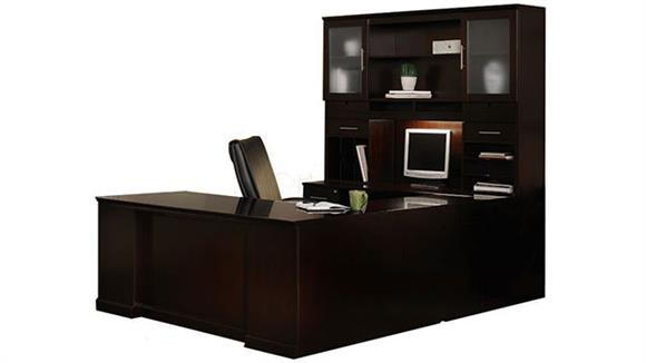 U Shaped Desks Mayline Office Furniture Double Pedestal U Shaped Desk with Hutch