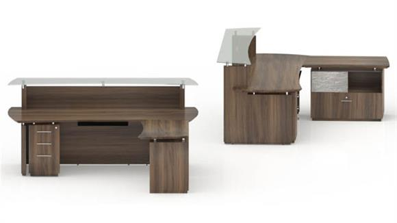 "Reception Desks Mayline Office Furniture 96"" L Shaped Reception Desk"
