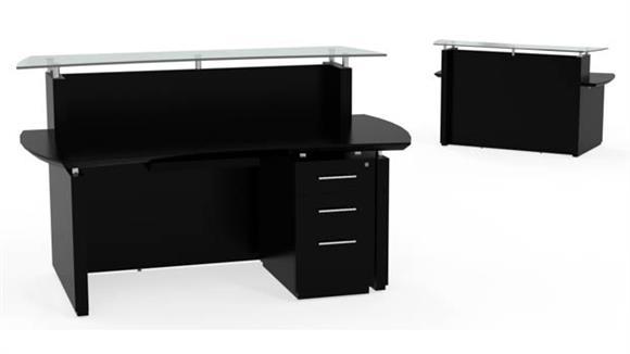 "Reception Desks Mayline Office Furniture 72"" Single Pedestal Reception Desk"