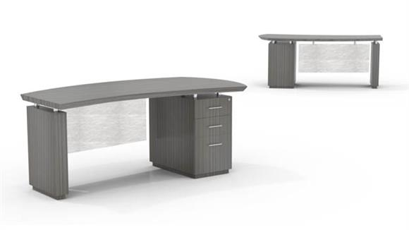 "Executive Desks Mayline Office Furniture 66"" Single Pedestal Desk"
