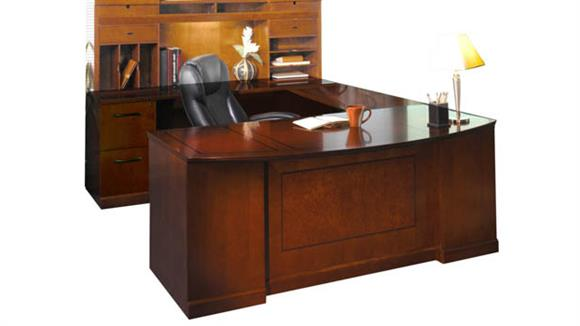 U Shaped Desks Mayline Office Furniture Double Pedestal U Shaped Bow Front Desk