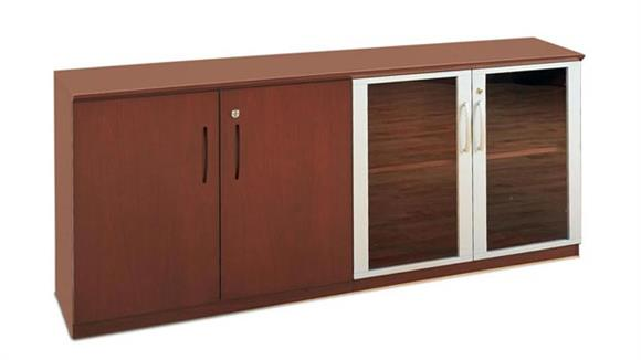 Storage Cabinets Mayline Office Furniture Low Wall Cabinet with Wood and Glass Doors