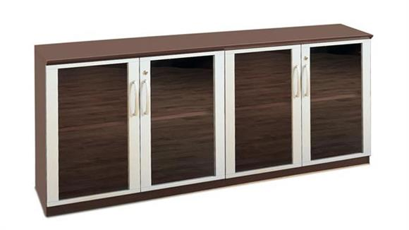 Storage Cabinets Mayline Office Furniture Low Wall Cabinet with Glass Doors