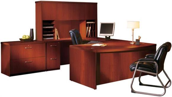 "U Shaped Desks Mayline Office Furniture 72"" Bow Front U Shaped Desk with Additional Storage"