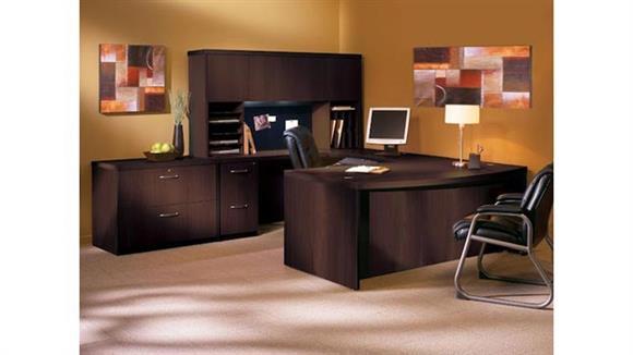 "U Shaped Desks Mayline Office Furniture 72"" Bow Front U Shaped Desk with Additional Storage"