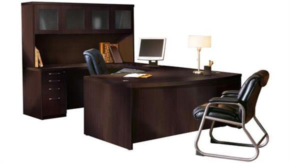 U Shaped Desks Mayline Office Furniture Bowfront U Shaped Desk with Hutch