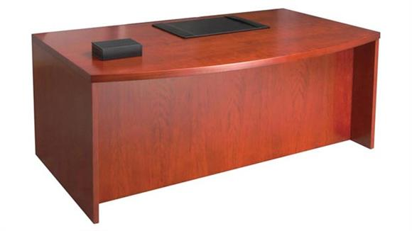 "Executive Desks Mayline Office Furniture 72"" Wood Veneer Bow Front Desk Shell"
