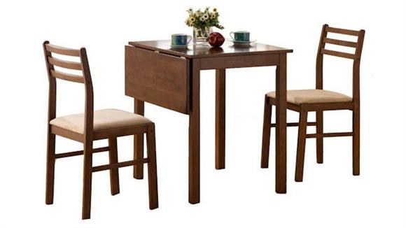 Dining Tables & Sets Monarch Walnut 3 Piece Drop Leaf Dining Set
