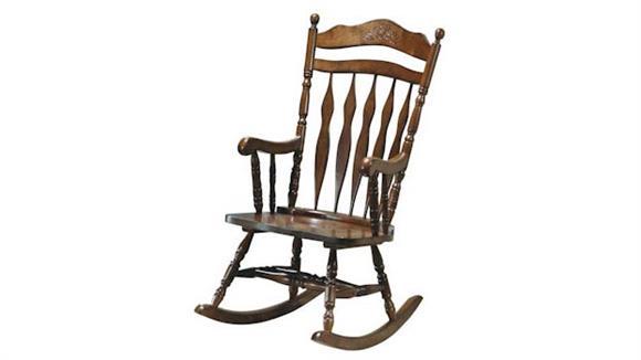 Rockers & Gliders Monarch Dark Walnut Embossed Back Rocking Chair