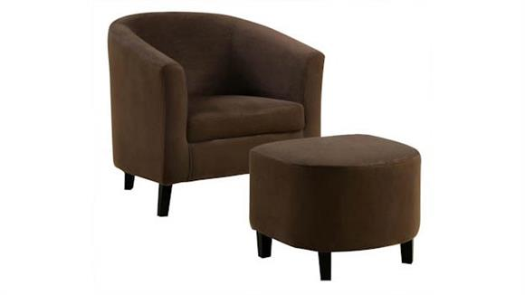 Accent Chairs Monarch Chocolate Microfiber Accent Chair with Ottoman