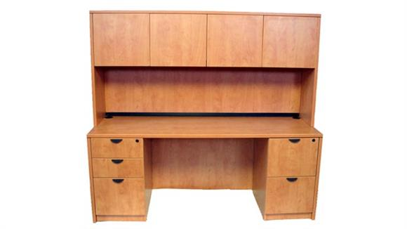 "Office Credenzas Marquis 66"" Double Pedestal Credenza with Hutch"
