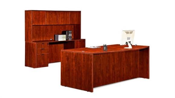 "Executive Desks Marquis 72"" Bow Front Desk with Credenza and Hutch"