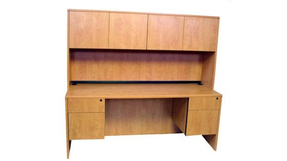 "Office Credenzas Marquis 71"" Double Pedestal Credenza with Hutch"