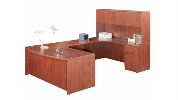 U Shaped Desks Marquis Double Pedestal U Shaped Desk with Hutch