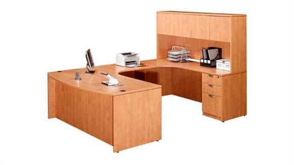 U Shaped Desks Marquis Single Pedestal U Shaped Desk with Hutch