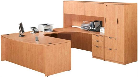 U Shaped Desks Marquis Single Pedestal U Shaped Desk with Hutch and Storage