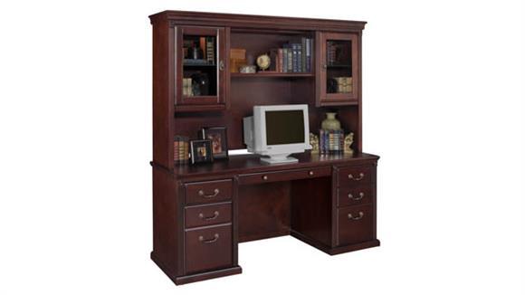 Office Credenzas Martin Furniture Credenza with Lighted Storage Hutch