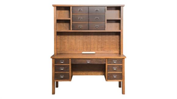 "Executive Desks Martin Furniture 60"" Half Pedestal Desk with Hutch"
