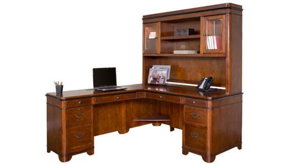 L Shaped Desks Martin Furniture Left Hand Facing L-Shaped Desk with Hutch