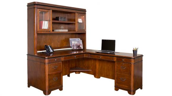 L Shaped Desks Martin Furniture Right Hand Facing L-Shaped Desk with Hutch