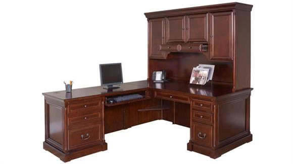 L Shaped Desks Martin Furniture L-Shaped Desk with Hutch and Left Return