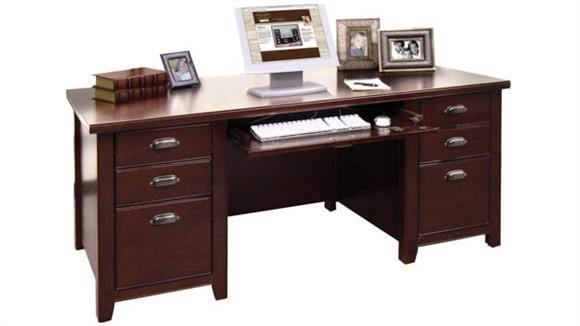 "Executive Desks Martin Furniture 68"" Double Pedestal Glass Door Executive Desk"
