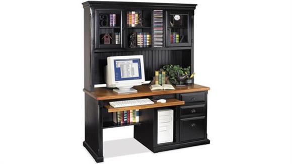 Computer Desks Martin Furniture Single Pedestal Computer Desk with Hutch