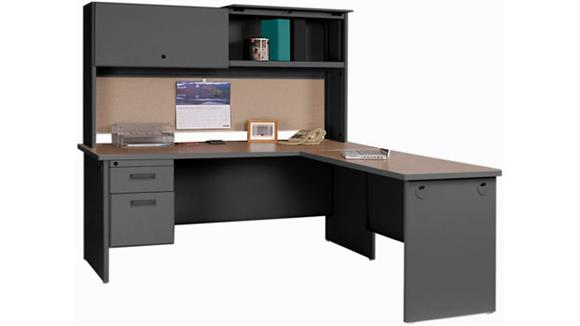 L Shaped Desks Marvel Steel L Shaped Desk with Hutch