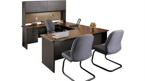 U Shaped Desks Marvel Steel U Shaped Desk with Hutch
