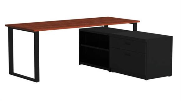 "Computer Desks Marvel Office Furniture 72"" X 30"" Desk with Bookcase and Lateral Pedestal"